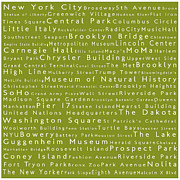 Famous Streets Prints - New York City in Words Olive Print by Sabine Jacobs