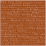 Lincoln Center Framed Prints - New York City in Words Toffee Framed Print by Sabine Jacobs