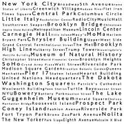 Famous Streets Posters - New York City in Words White Poster by Sabine Jacobs