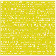 Famous Streets Prints - New York City in Words Yellow Print by Sabine Jacobs