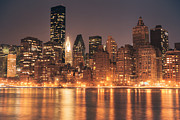 Skylines Metal Prints - New York City Lights - Skyline at Night Metal Print by Vivienne Gucwa