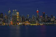 Skylines Metal Prints - New York City Lights Metal Print by Susan Candelario