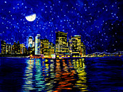 New Jersey Painting Originals - New York City Lower Manhattan by Christopher Shellhammer