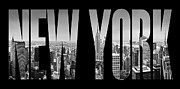 Name Prints - NEW YORK CITY Manhattan Overlook Print by Melanie Viola