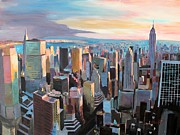 New York City Skyline Painting Framed Prints - New York City - Manhattan Skyline in Warm Sunlight Framed Print by M Bleichner