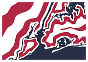 New York Map Digital Art - New York City Map - USA Flag by Stephen Gowland