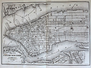New York City Map Framed Prints - New York City Map - 1869 Framed Print by Richy Ross restored it