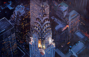 Original Artwork Paintings - New York City Midtown Manhattan With Chrysler Building At Night  Version 2 by M Bleichner