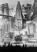 Acetate Posters - New York City Montage 1939 Poster by Padre Art