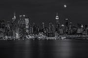 Skylines Metal Prints - New York City Night Lights Metal Print by Susan Candelario