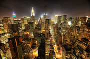 Skyline Photo Framed Prints - New York City Night Framed Print by Shawn Everhart