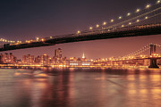Skylines Framed Prints - New York City Night - Two Bridges Framed Print by Vivienne Gucwa