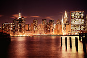 Skylines Framed Prints - New York City - Night Framed Print by Vivienne Gucwa