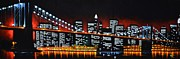 New York City Skyline Painting Framed Prints - New York City Panaroma Framed Print by Thomas Kolendra