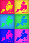 New York Map Framed Prints - New York City Pop Art  Map 5 Framed Print by Irina  March