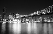 New York City Skyline Framed Prints - New York City - Queensboro Bridge at Night Framed Print by Vivienne Gucwa
