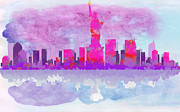 Drippy Digital Art - New York City Silhouette - Hot Pink and Purple by Paulette Wright