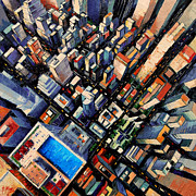 Aerial Perspective Paintings - New York City Sky View by EMONA Art