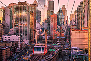 Nyc Photo Framed Prints - New York City - Skycrapers and the Roosevelt Island Tram Framed Print by Vivienne Gucwa