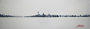 New York State Paintings - New York City Skyline 12x36-1 by Jack Diamond