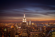 Skylines Framed Prints - New York City Skyline and Empire State Building at Dusk Framed Print by Vivienne Gucwa