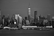 New York Skyline Art - New York City Skyline At Dusk Black and White by Kathy Flood