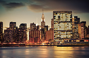 Skylines Framed Prints - New York City Skyline - Evening View Framed Print by Vivienne Gucwa