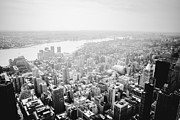Skylines Posters - New York City Skyline - Foggy Day Poster by Vivienne Gucwa