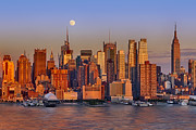 Manhattan Framed Prints - New York City Skyline Full Moon And Sunset Framed Print by Susan Candelario
