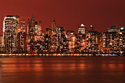 Skylines Photos - New York City Skyline in Red by Sabine Jacobs