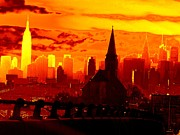 New York City Skyline Inferno Print by Ed Weidman