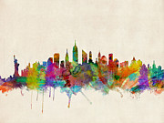 Urban Watercolor Digital Art Metal Prints - New York City Skyline Metal Print by Michael Tompsett