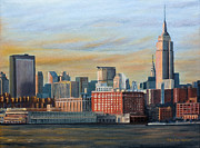 Empire State Building Paintings - New York City Skyline by Nick Buchanan