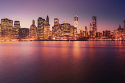 New York City Skyline Framed Prints - New York City Skyline - Night Lights Framed Print by Vivienne Gucwa