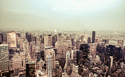 Nyc Photo Framed Prints - New York City - Skyline on a Hazy Evening Framed Print by Vivienne Gucwa