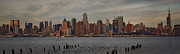 City Skylines Posters - New York City Skyline Panoramic Poster by Susan Candelario