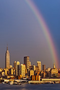 New York City Skyline Framed Prints - New York City Skyline Rainbow Framed Print by Susan Candelario