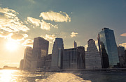 Skylines Metal Prints - New York City Skyline - Sunset Metal Print by Vivienne Gucwa