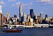New York City Skyline With Empire State And Red Boat Print by Kathy Flood