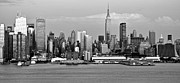 New York City Skyline Photos - New York City Skyline with Empire State Black and White by Kathy Flood