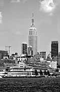 New York City Skyline Photos - New York City Skyline with Empire State Building Black and White by Kathy Flood