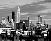 New York City Skyline Photos - New York City Skyline with Harbor Black and White by Kathy Flood