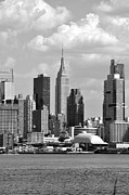 New York City Skyline Photos - New York City Skyline with Space Shuttle Dome and Empire State Building Black and White by Kathy Flood
