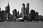 New York City Skyline Photos - New York City Skyline with Space Shuttle Dome Black and White by Kathy Flood