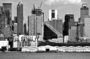 New York City Skyline Photos - New York City Skyline with Stair Building Black and White by Kathy Flood