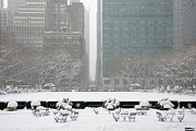 Bryant Park Posters - New York City snow Poster by Louis Scotti