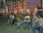 Cities Pastels Prints - New York City Street Band Print by Marion Derrett