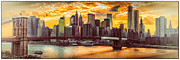 New York City Skyline Digital Art Framed Prints - New York City Summer Panorama Framed Print by Chris Lord