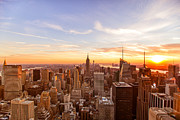The Chrysler Building Nyc Prints - New York City - Sunset Skyline Print by Vivienne Gucwa