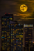 Moonscape Framed Prints - New York City Super Moon Framed Print by Susan Candelario